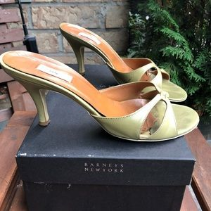 Barney's New York  Leather Heeled Slides/Sandals